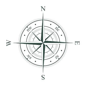 方位磁針。レトロなヴィンテージ風配図。ベクトルイラスト。