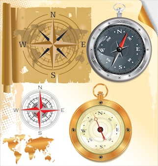 Compass rose and glossy compass, set