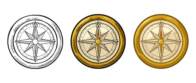 Compass rose isolated on white engraving illustration