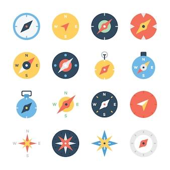 Compass rose line icons set