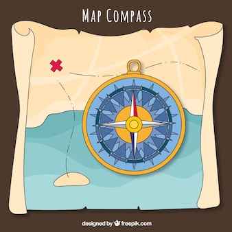 Compass on treasure map background