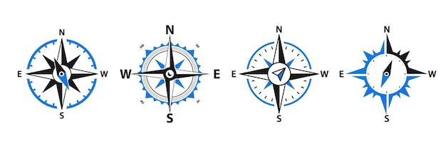 Compass - vector signs and symbols logo set. navigation compass, rose with north, south, east and west. set of navigational compass, travel compass, lost compass.traveler device map navigate equipment