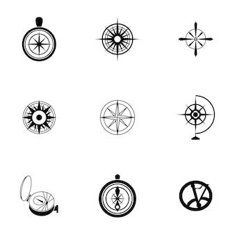 コンパスベクトル。シンプルなコンパスのイラスト、編集可能な要素、ロゴデザインで使用できます