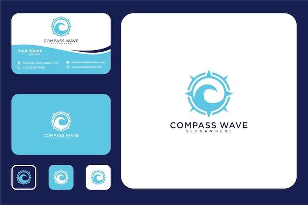 Компас волна дизайн логотипа и визитная карточка