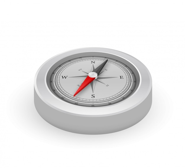 Compass on white background. flat  navigation symbol.  stock illustration.