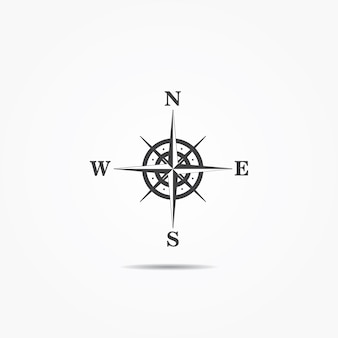 Compass wind rose icon  on gray background.