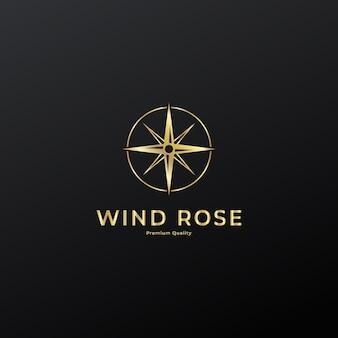 Compass wind rose logo icon vintage line art vector illustration design