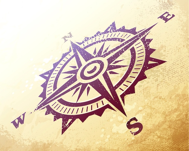 Compass wind rose in perspective on ancient map. vintage art of wind rose on dirty textured paper. vector illustration.