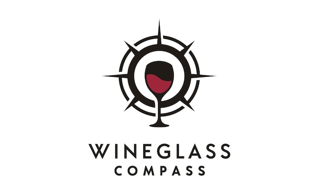 Compass and wineglass logo design inspiration