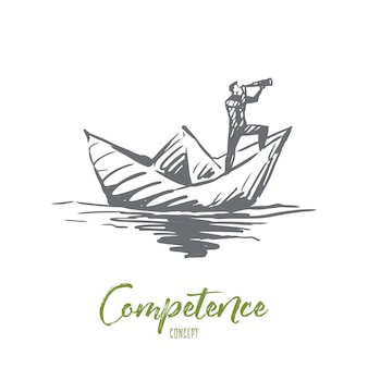 Competence, job, skill, management, efficiency concept. hand drawn man on paper boat looking forward concept sketch.