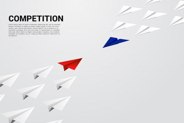 Competition of blue and red origami paper airplane. concept of business competition and battle.