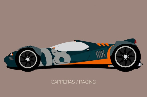 Competition car, side view, flat design style