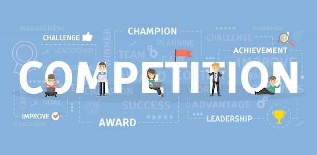 競争の概念図。戦い、選手権と成功のアイデア。