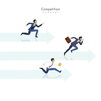 Competition concept with three businessman running together on the arrow and white background
