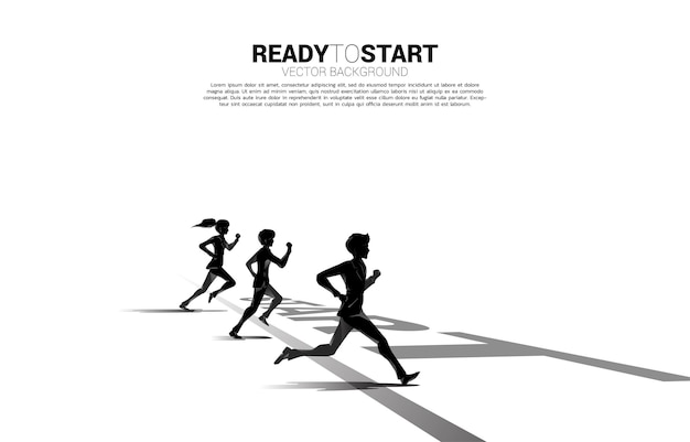 출발선에서 달리는 사업가와 사업가의 실루엣의 경쟁. 경쟁에 대한 비즈니스 개념
