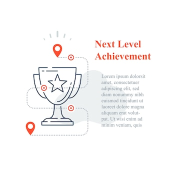Competition reward concept, excellence award, winner cup, strategy to success, next level improvement, high achievement trophy, incentive program, long term goal, line icon