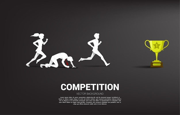 Competition of silhouette of businessman and businesswoman running to get the trophy. business concept for people in competition
