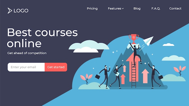 Competition tiny persons illustration landing page template .