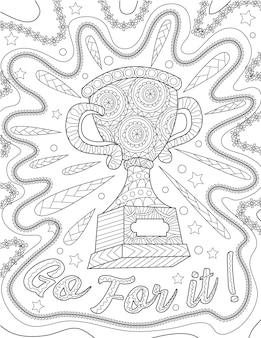 Competition trophy with leafy border designs colorless line drawing championship reward with