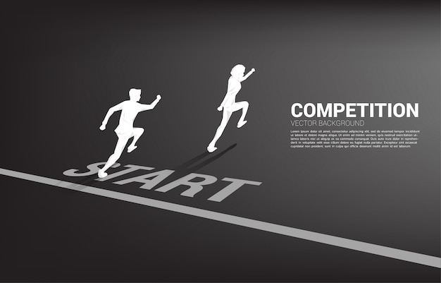 Competition of two silhouette of businessman running from start line.