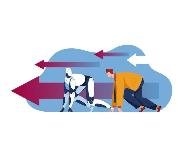 自動化技術の概念、イラストとの競争。ビジネス人間と未来のaiマシン、未来的なロボットサイボーグの人。ジョブスタッフのメタファーレース、人類vs ai。