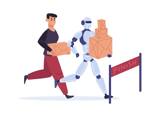 Competition with automation technology. man and robot running to finish with parcels.