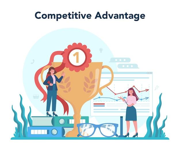 競争上の優位性。広告とマーケティングの概念。