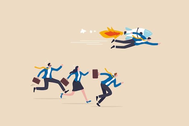 Конкурентное преимущество для победы в деловой конкуренции, инновации или творчество для победы в стратегии и концепции успеха, умный бизнесмен с ракетным ускорителем ведет к победе в деловой конкуренции.