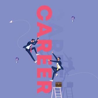 Competitive business people climbing  word career-business competition concept