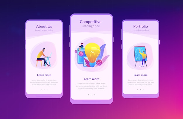 Competitive intelligence app interface template