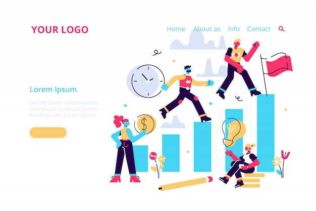 Competitive process in business, business man and woman run to their goal, move up the motivation, the way to achieve the goal, businessman in hurry in each step illustration for web, print