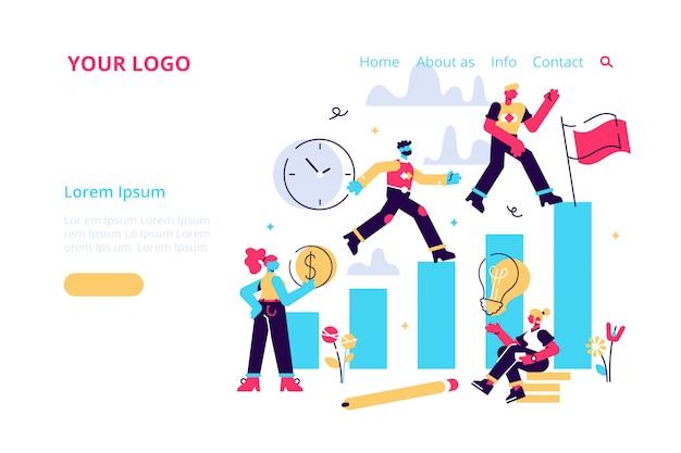 비즈니스, 비즈니스 남자와 여자의 경쟁 과정은 그들의 목표를 실행 동기 부여, 목표를 달성하는 방법을 이동, 웹, 인쇄에 대한 각 단계 그림에서 서둘러 사업가
