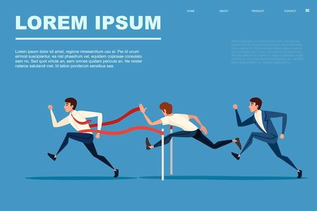 Competitive race businessman running flat vector illustration on blue background horizontal banner