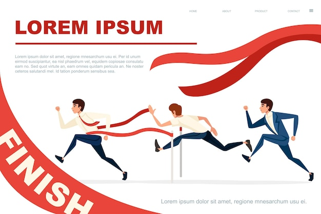 Competitive race businessman running flat vector illustration horizontal banner design