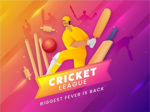 Competitive team player in playing pose with red ball hit wickets on pink and yellow gradient light effect background for cricket league biggest fever is back.