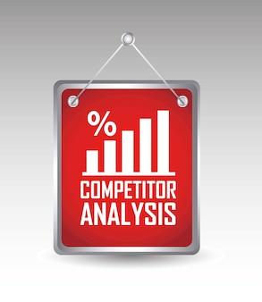 灰色の背景ベクトル上の競合分析アナウンス