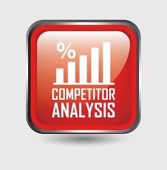競合分析ボタン、白背景ベクトル