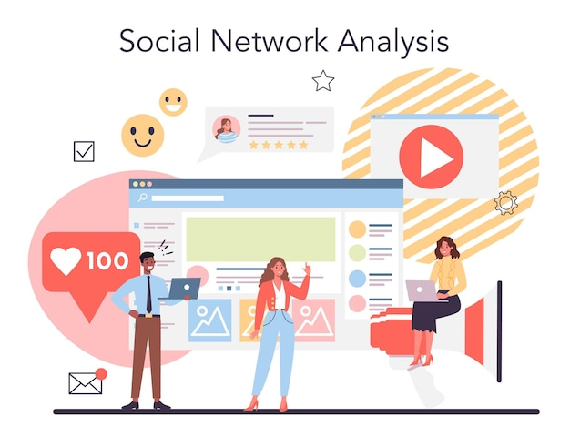 Competitor analysis concept. market research and business strategy development. social network analysis.