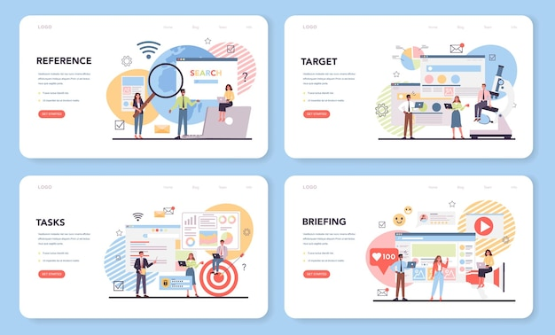 경쟁사 분석 웹 배너 또는 방문 페이지 세트
