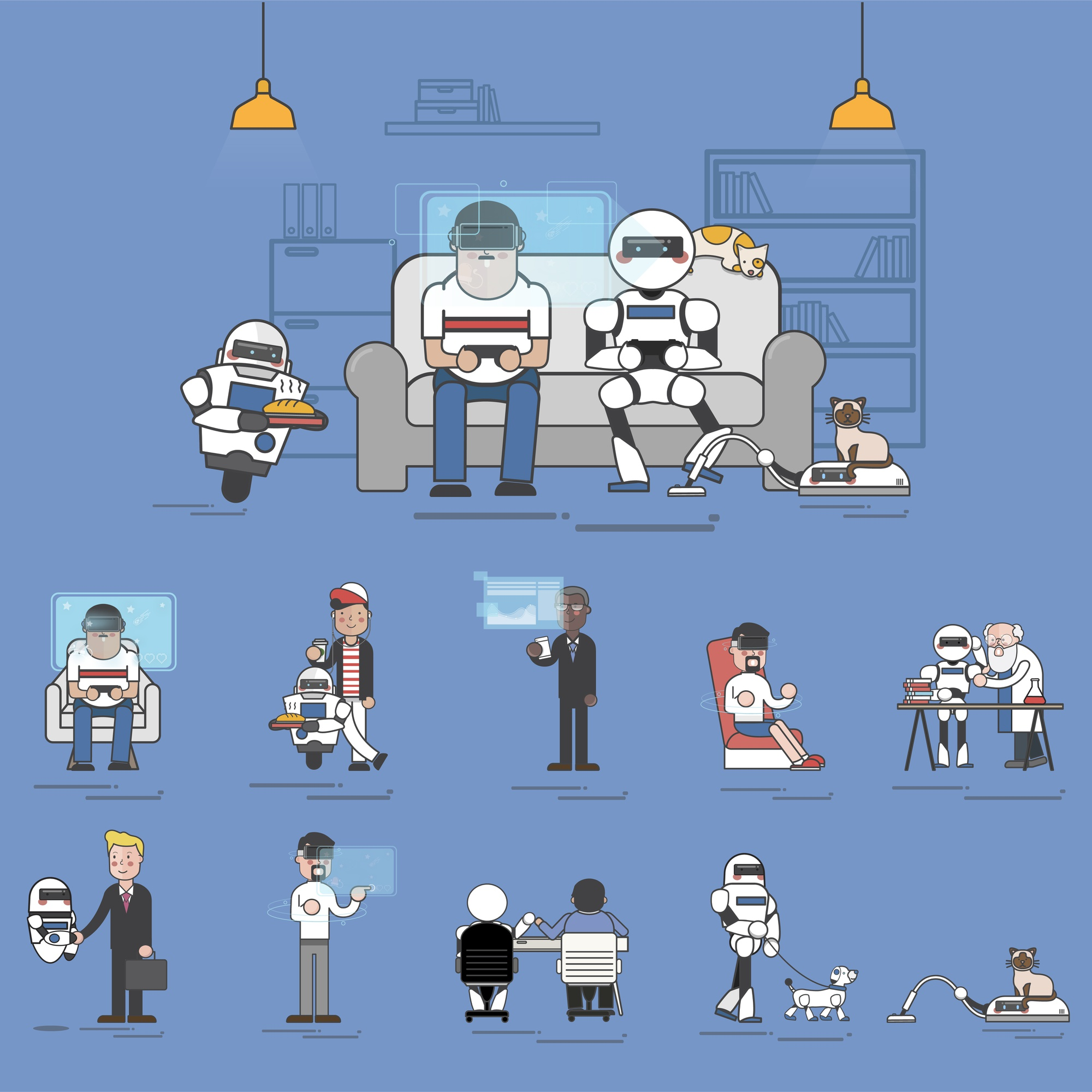 Compilation of advanced AI technology in everyday life illustration