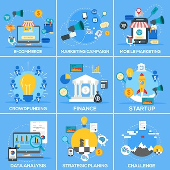 Compilation of business marketing icons