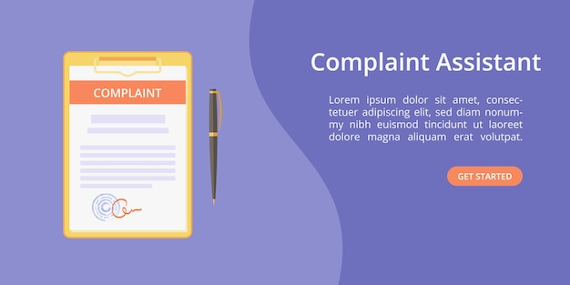 Complaint form assistant on clipboard web template