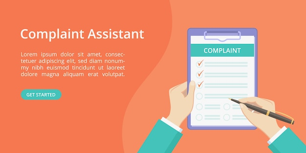 Complaint form on clipboard with hand landing page