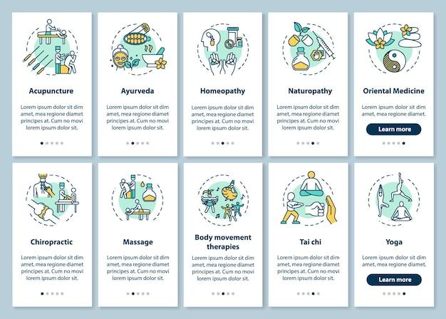 コンセプトが設定されたモバイルアプリページ画面にオンボーディングする補完療法。代替医療の種類は、5つのステップのグラフィックの説明をウォークスルーします。 rgbカラーイラストとuiベクトルテンプレート