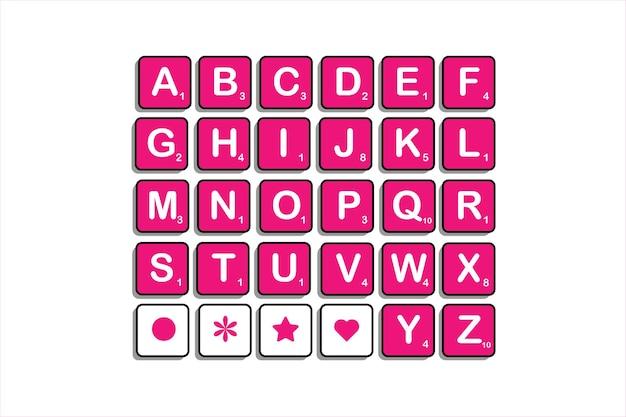 文を作成するためにスクラブル文字で大文字のアルファベットを完成させる