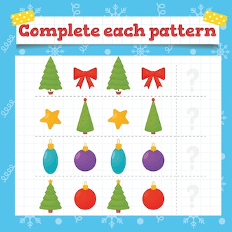 クリスマスツリーの装飾で各パターンの幼児教育ゲームを完了します。就学前または幼稚園のクリスマスワークシート。