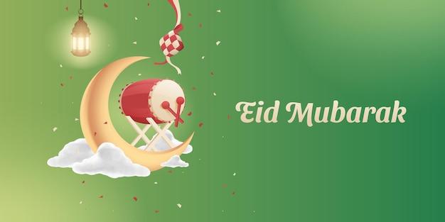 완전한 eid al fitr 무바라크 이슬람 장식품 배경