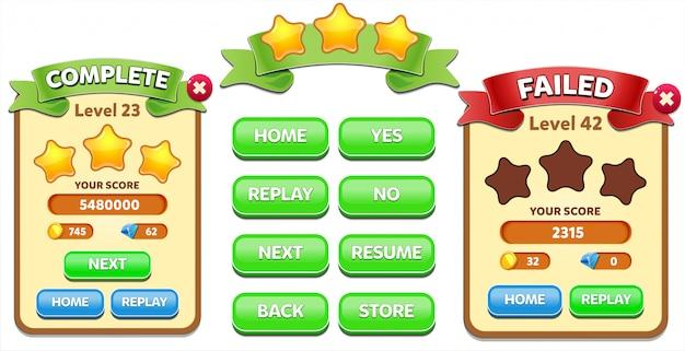 Уровень complete и уровень failed всплывающее меню со счетом звезд и кнопок gui
