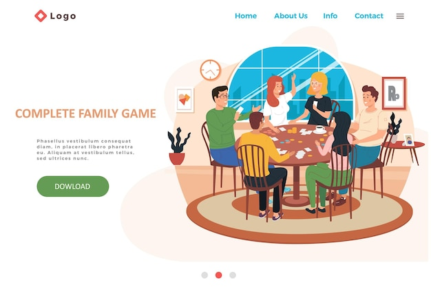 Complete family game landing page template with happy family or friends playing card game at home or cafe.