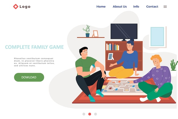 Complete family game landing page template with happy family or friends playing logic strategic game at home on the weekend.